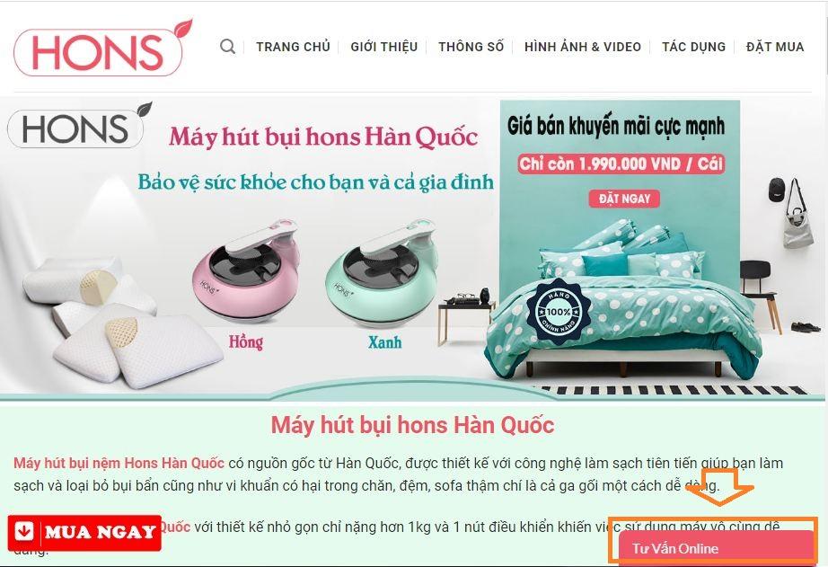 Đặt mua máy hút bụi Hons Hàn Quốc bằng chat với nhân viên
