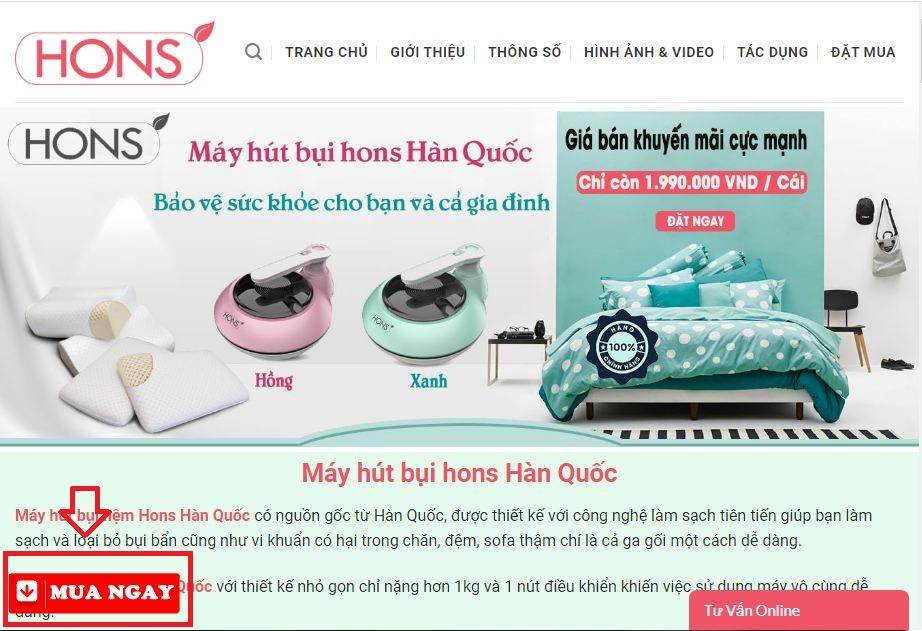 Hoặc Click nút ĐẶT MUA NGAY trên góc trái bên dưới của website như sau: