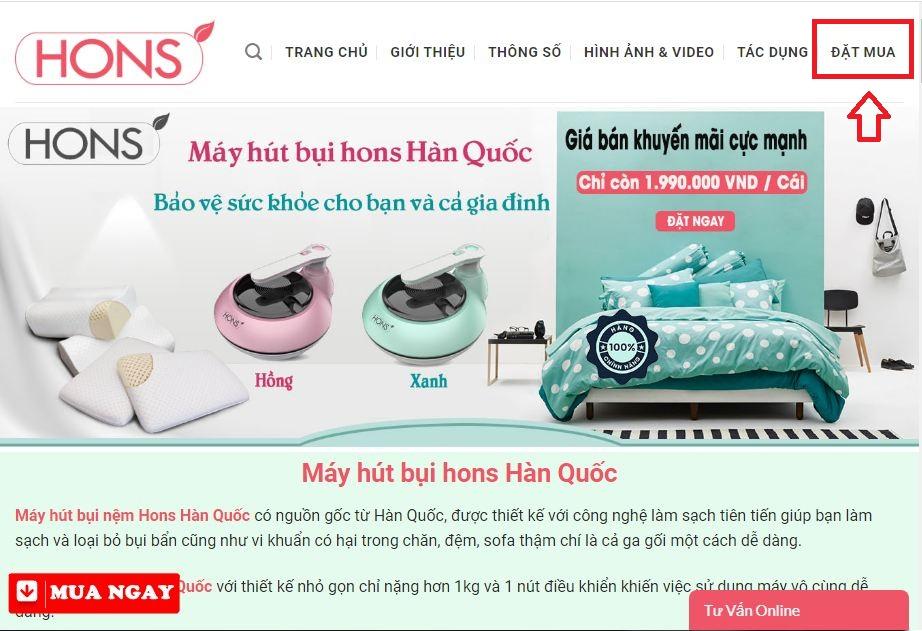 Click nút đặt mua bên góc phải của website như hình